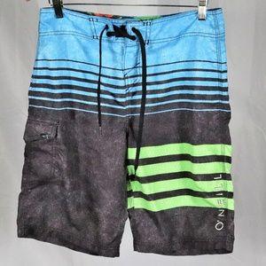 O'Neill Grey Blue Green Horizon Board Shorts